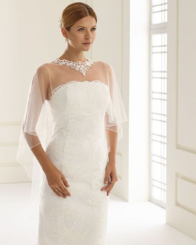 Eleanor tulle bridal bolero, lace wedding cape